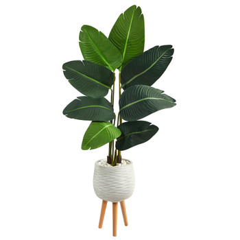 5 Travelers Palm Artificial Tree in White Planter with Stand - SKU #T2505