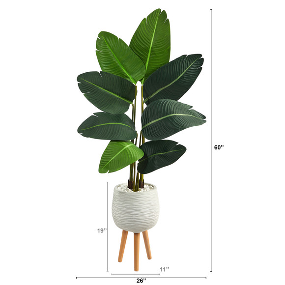 5 Travelers Palm Artificial Tree in White Planter with Stand - SKU #T2505 - 1
