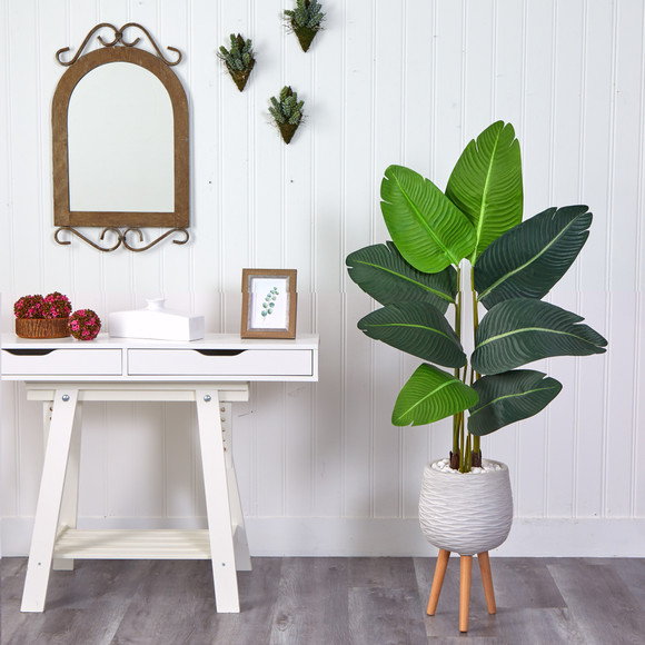 5 Travelers Palm Artificial Tree in White Planter with Stand - SKU #T2505 - 2
