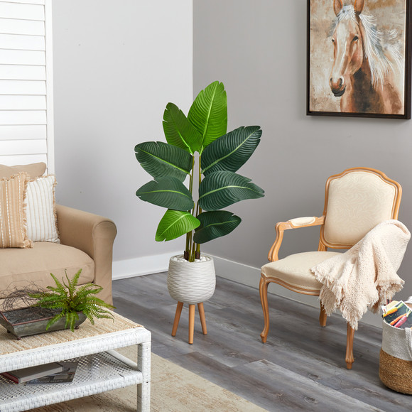 5 Travelers Palm Artificial Tree in White Planter with Stand - SKU #T2505 - 3