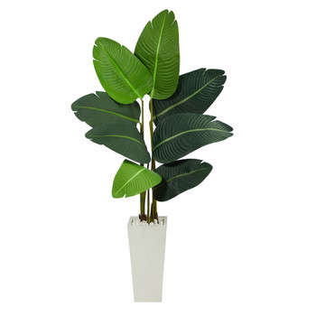 4.5 Travelers Palm Artificial Tree in White Planter - SKU #T2506