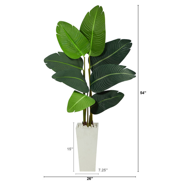 4.5 Travelers Palm Artificial Tree in White Planter - SKU #T2506 - 1