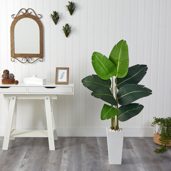 4.5 Travelers Palm Artificial Tree in White Planter - SKU #T2506 - 2