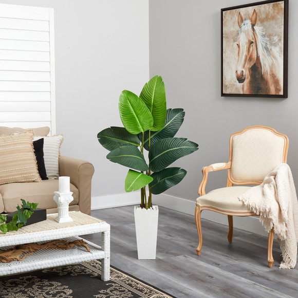 4.5 Travelers Palm Artificial Tree in White Planter - SKU #T2506 - 3