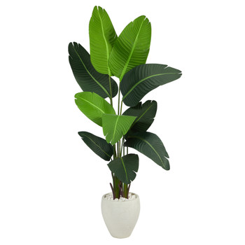 5.5 Travelers Palm Artificial Tree in White Planter - SKU #T2508