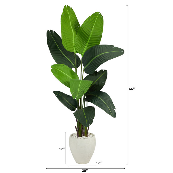 5.5 Travelers Palm Artificial Tree in White Planter - SKU #T2508 - 1