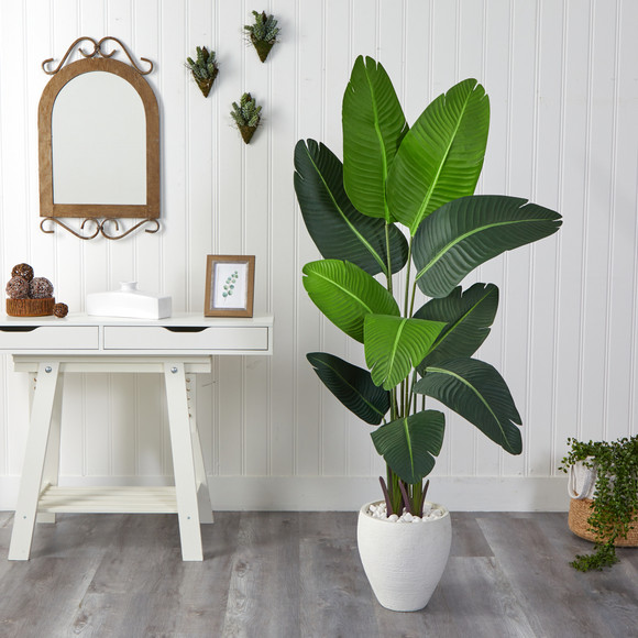5.5 Travelers Palm Artificial Tree in White Planter - SKU #T2508 - 2