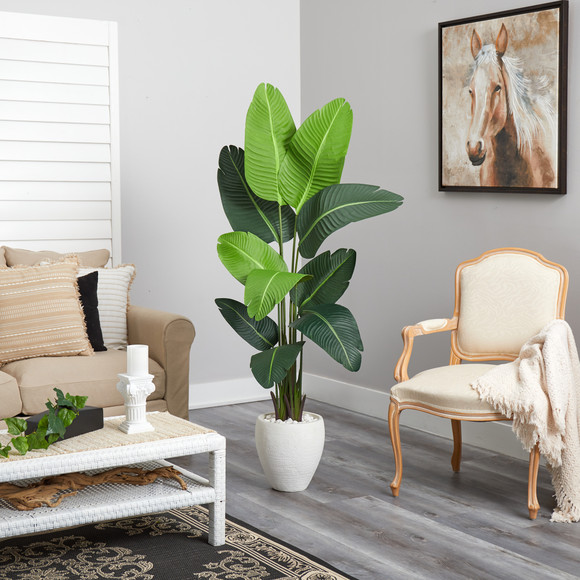 5.5 Travelers Palm Artificial Tree in White Planter - SKU #T2508 - 3
