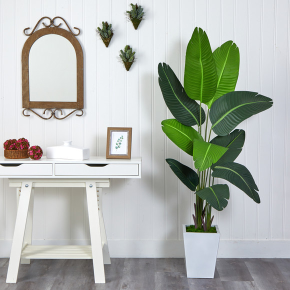5.5 Travelers Palm Artificial Tree in White Metal Planter - SKU #T2509 - 2