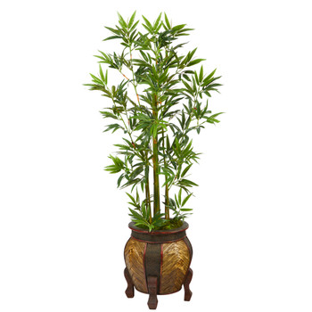 4.5 Bamboo Palm Artificial Tree in Decorative Planter - SKU #T2519