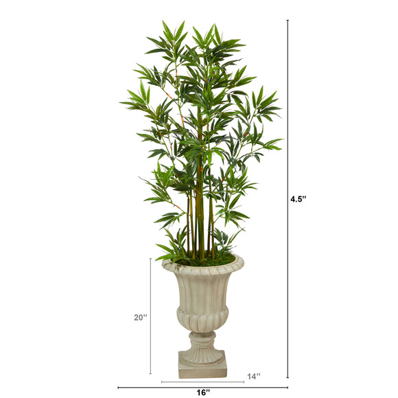 4.5 Bamboo Palm Artificial Tree in Sand Finished Urn - SKU #T2520 - 1