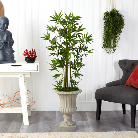 4.5 Bamboo Palm Artificial Tree in Sand Finished Urn - SKU #T2520 - 2