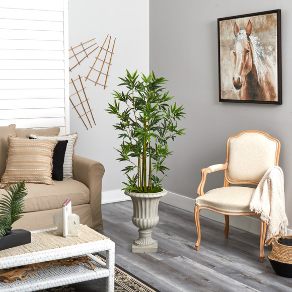 4.5 Bamboo Palm Artificial Tree in Sand Finished Urn - SKU #T2520 - 3