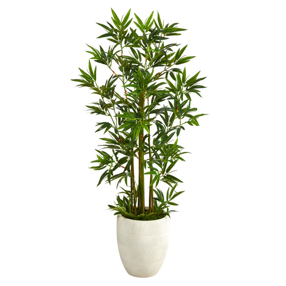 52 Bamboo Palm Artificial Tree in White Planter - SKU #T2521
