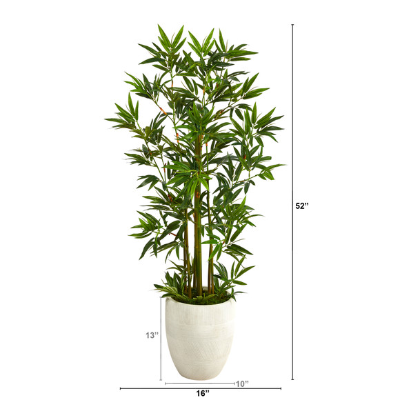 52 Bamboo Palm Artificial Tree in White Planter - SKU #T2521 - 1