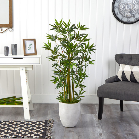 52 Bamboo Palm Artificial Tree in White Planter - SKU #T2521 - 2