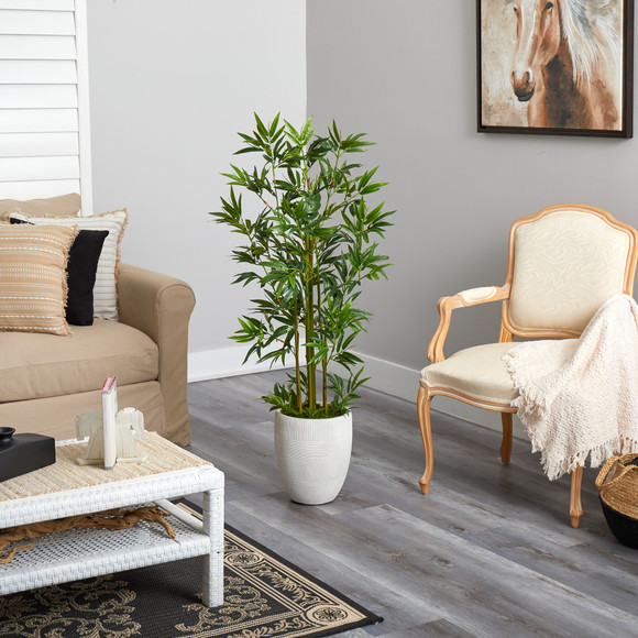 52 Bamboo Palm Artificial Tree in White Planter - SKU #T2521 - 3