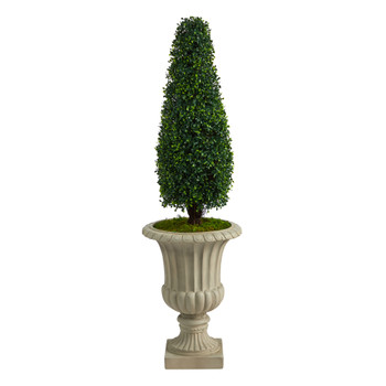 4 Boxwood Tower Artificial Topiary Tree in Sand Finished Urn UV Resistant Indoor/Outdoor - SKU #T2522
