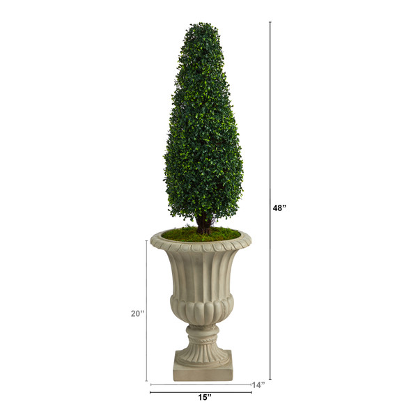 4 Boxwood Tower Artificial Topiary Tree in Sand Finished Urn UV Resistant Indoor/Outdoor - SKU #T2522 - 1