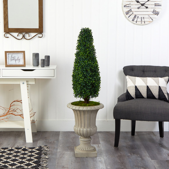 4 Boxwood Tower Artificial Topiary Tree in Sand Finished Urn UV Resistant Indoor/Outdoor - SKU #T2522 - 2