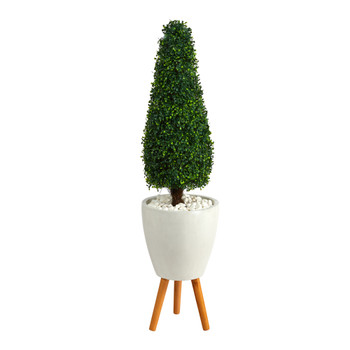 51 Boxwood Tower Artificial Topiary Tree in White Planter with Stand UV Resistant Indoor/Outdoor - SKU #T2523