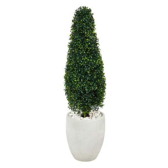3.5 Boxwood Tower Artificial Topiary Tree in White Planter UV Resistant Indoor/Outdoor - SKU #T2524