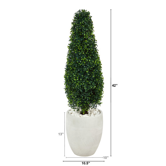 3.5 Boxwood Tower Artificial Topiary Tree in White Planter UV Resistant Indoor/Outdoor - SKU #T2524 - 1