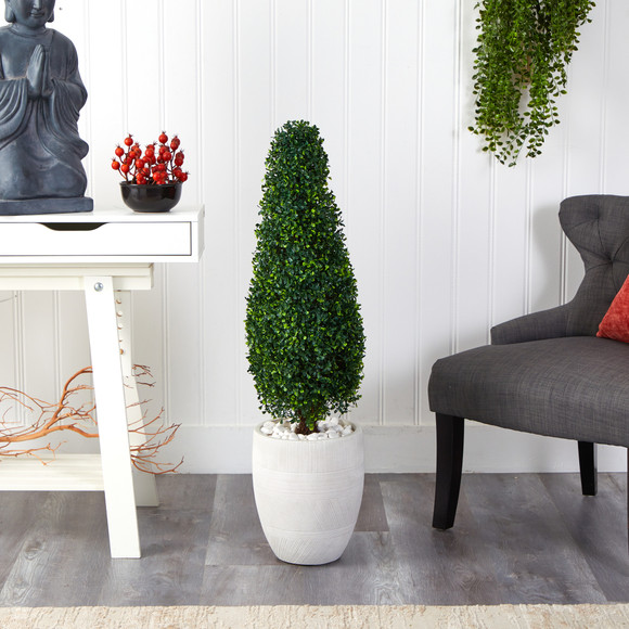 3.5 Boxwood Tower Artificial Topiary Tree in White Planter UV Resistant Indoor/Outdoor - SKU #T2524 - 2