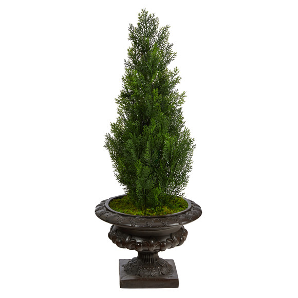 3.5 Mini Cedar Artificial Pine Tree in Iron Colored Urn UV Resistant Indoor/Outdoor - SKU #T2525