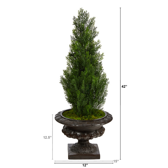 3.5 Mini Cedar Artificial Pine Tree in Iron Colored Urn UV Resistant Indoor/Outdoor - SKU #T2525 - 1