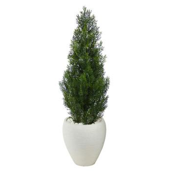 3.5 Mini Cedar Artificial Pine Tree in White Planter UV Resistant Indoor/Outdoor - SKU #T2526