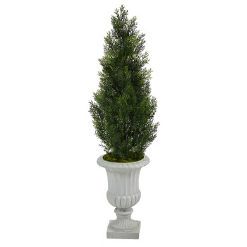 46 Mini Cedar Artificial Pine Tree in Decorative Urn UV Resistant Indoor/Outdoor - SKU #T2527