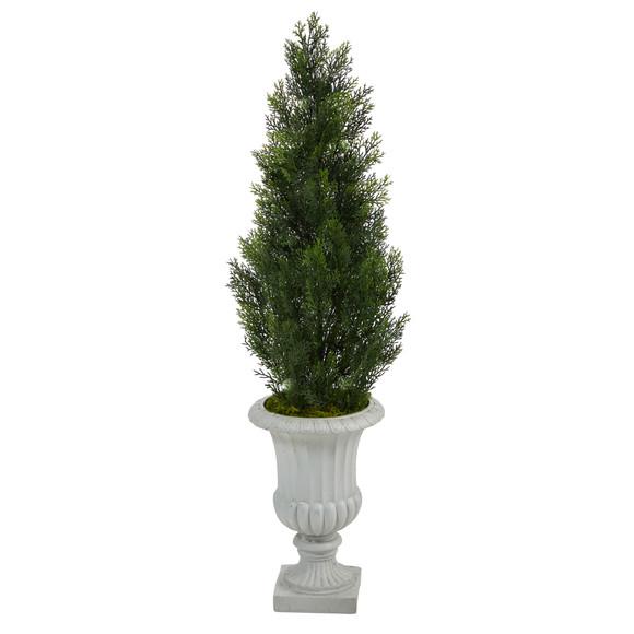 46 Mini Cedar Artificial Pine Tree in Decorative Urn UV Resistant Indoor/Outdoor - SKU #T2527