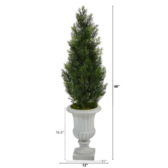 46 Mini Cedar Artificial Pine Tree in Decorative Urn UV Resistant Indoor/Outdoor - SKU #T2527 - 1