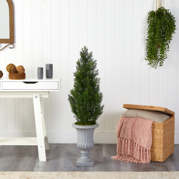 46 Mini Cedar Artificial Pine Tree in Decorative Urn UV Resistant Indoor/Outdoor - SKU #T2527 - 2