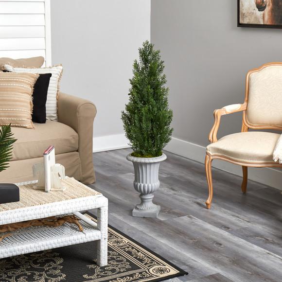46 Mini Cedar Artificial Pine Tree in Decorative Urn UV Resistant Indoor/Outdoor - SKU #T2527 - 3