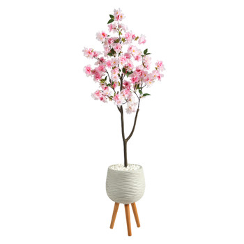 63 Cherry Blossom Artificial Tree in White Planter with Stand - SKU #T2528