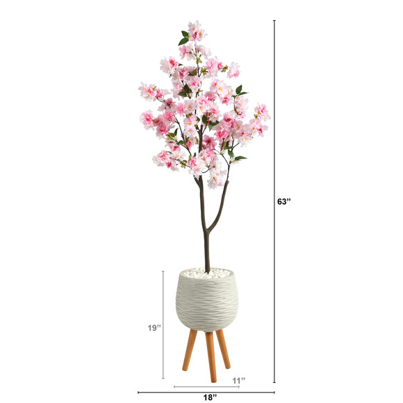 63 Cherry Blossom Artificial Tree in White Planter with Stand - SKU #T2528 - 1