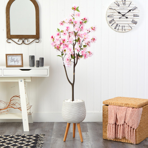 63 Cherry Blossom Artificial Tree in White Planter with Stand - SKU #T2528 - 2