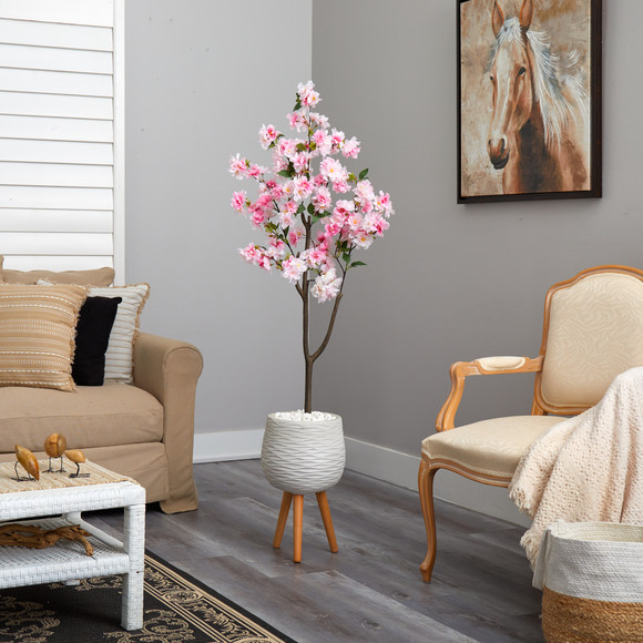 63 Cherry Blossom Artificial Tree in White Planter with Stand - SKU #T2528 - 3