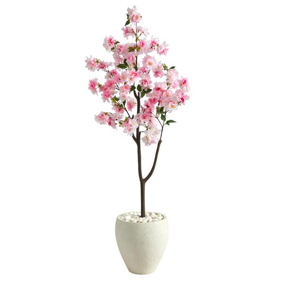 4.5 Cherry Blossom Artificial Tree in White Planter - SKU #T2529