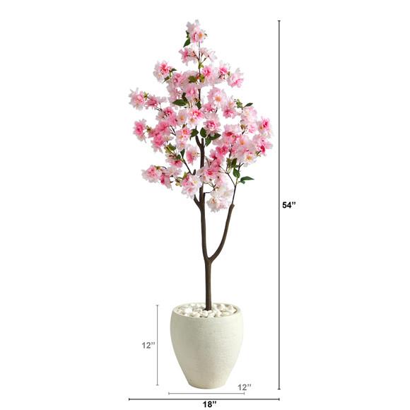 4.5 Cherry Blossom Artificial Tree in White Planter - SKU #T2529 - 1
