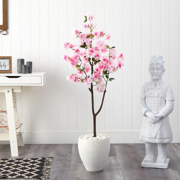 4.5 Cherry Blossom Artificial Tree in White Planter - SKU #T2529 - 2