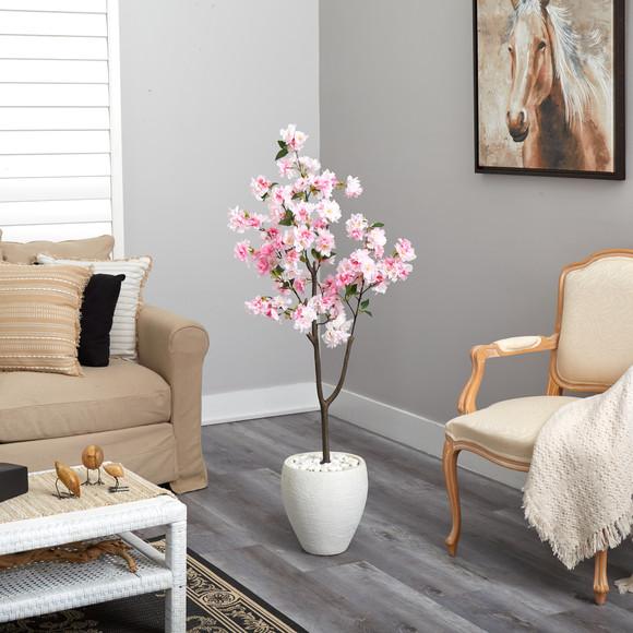 4.5 Cherry Blossom Artificial Tree in White Planter - SKU #T2529 - 3
