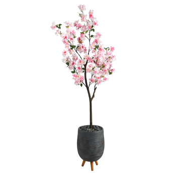 6 Cherry Blossom Artificial Tree in Gray Planter with Stand - SKU #T2531