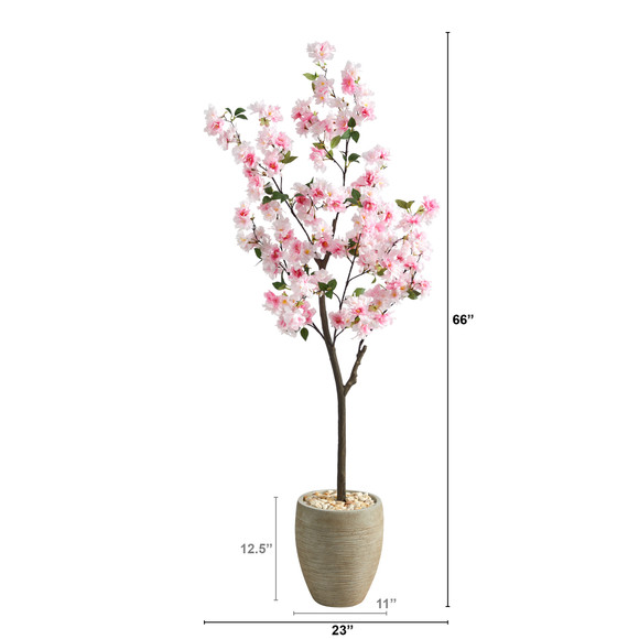 5.5 Cherry Blossom Artificial Tree in Sand Colored Planter - SKU #T2532 - 1