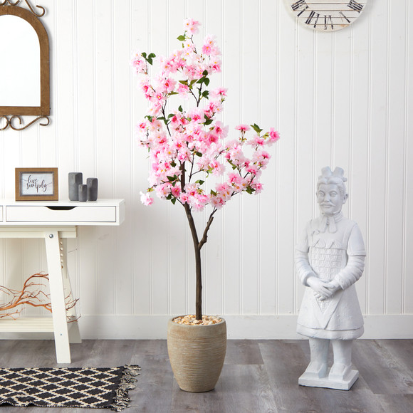 5.5 Cherry Blossom Artificial Tree in Sand Colored Planter - SKU #T2532 - 2