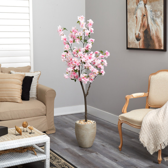 5.5 Cherry Blossom Artificial Tree in Sand Colored Planter - SKU #T2532 - 3