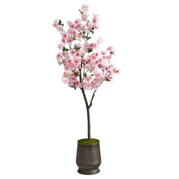 5.5 Cherry Blossom Artificial Tree in Ribbed Metal Planter - SKU #T2533