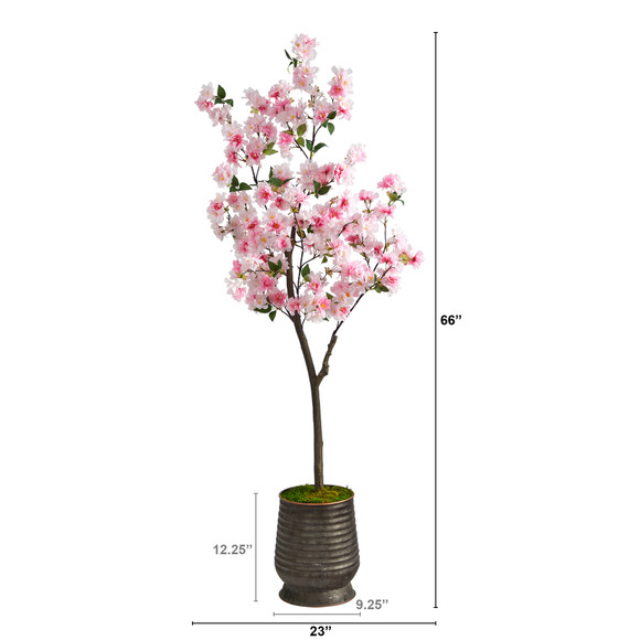 5.5 Cherry Blossom Artificial Tree in Ribbed Metal Planter - SKU #T2533 - 1